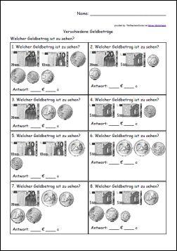 Arbeitsblätter – Münzen und Geldscheine addieren « Arbeitsblätter ...