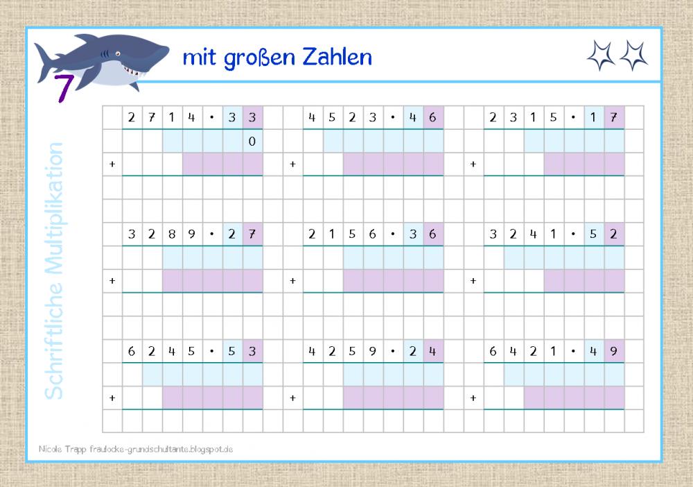 Großartig 4Klasse Mathe Multiplikation Arbeitsblatt Ideen ...